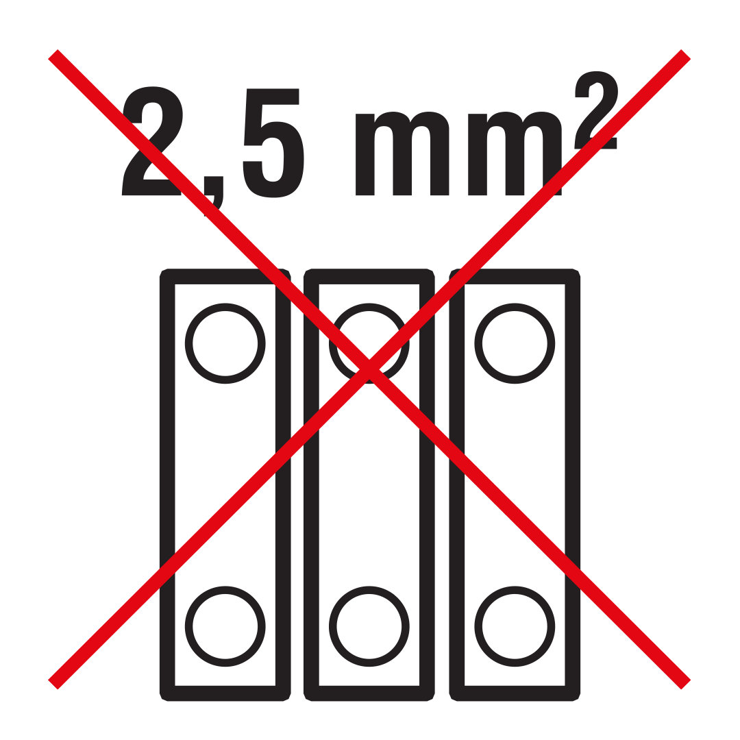 Electric equipment: for three-wire connection into screwed terminal block 2,5 mm2.