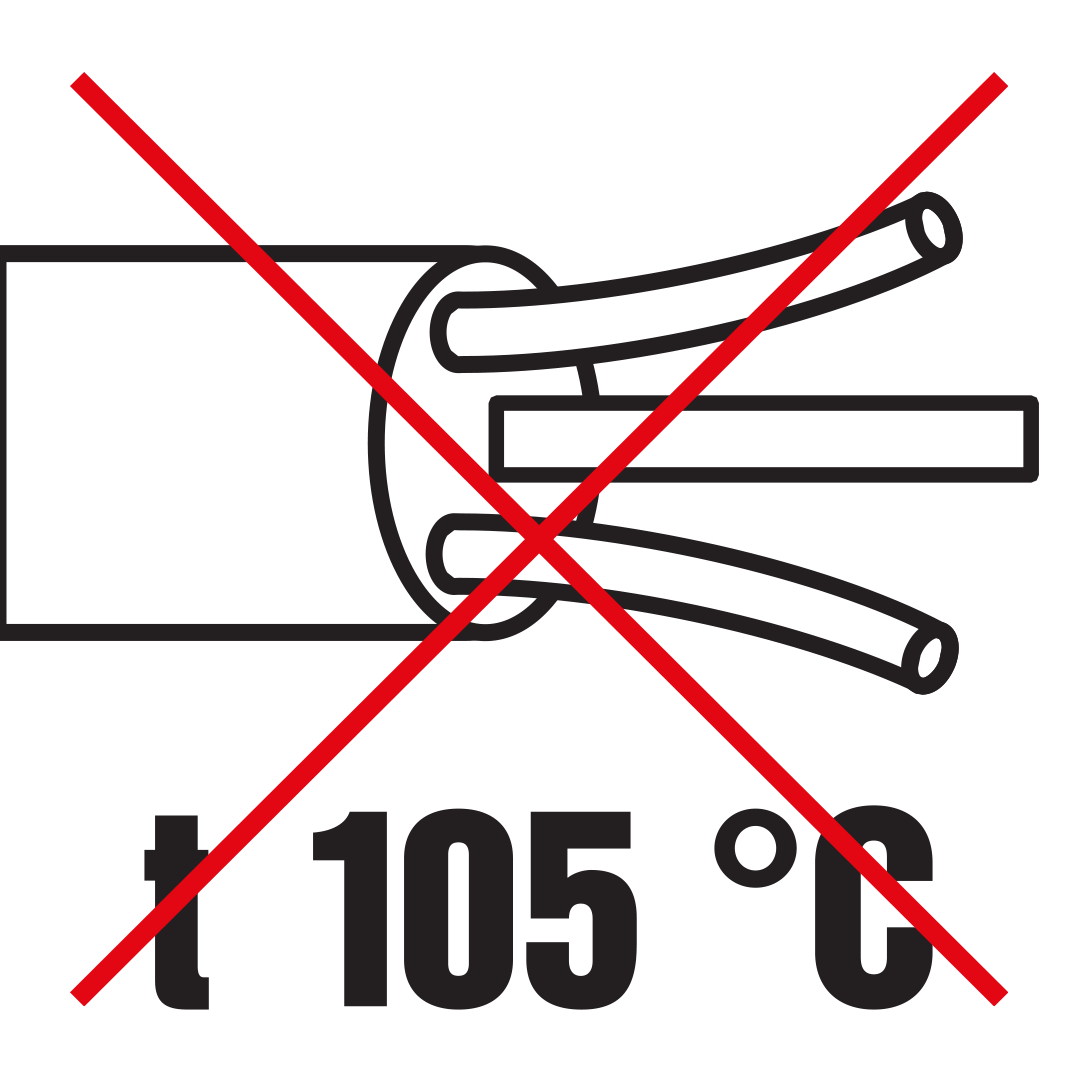 Use of heat-resistant supply cables, through-wiring cables or external inputs (105°).