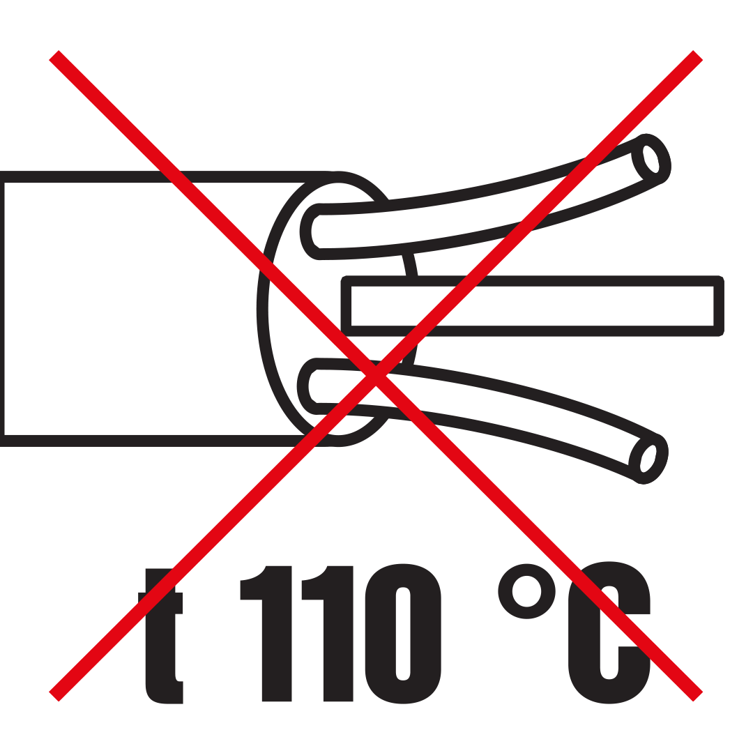 Use of heat-resistant supply cables, through-wiring cables or external inputs (110°).