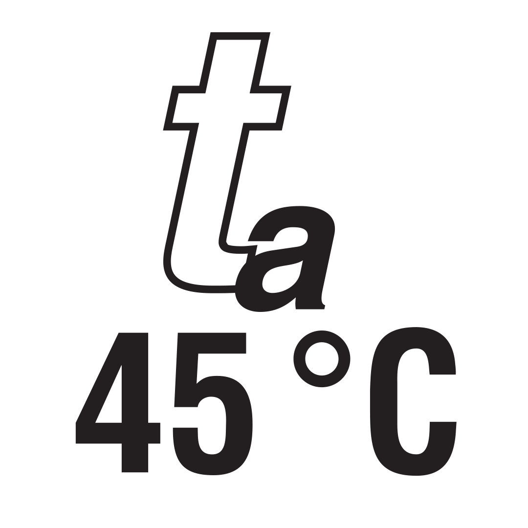 Nominal maximum temperature of environment 45 °C.
