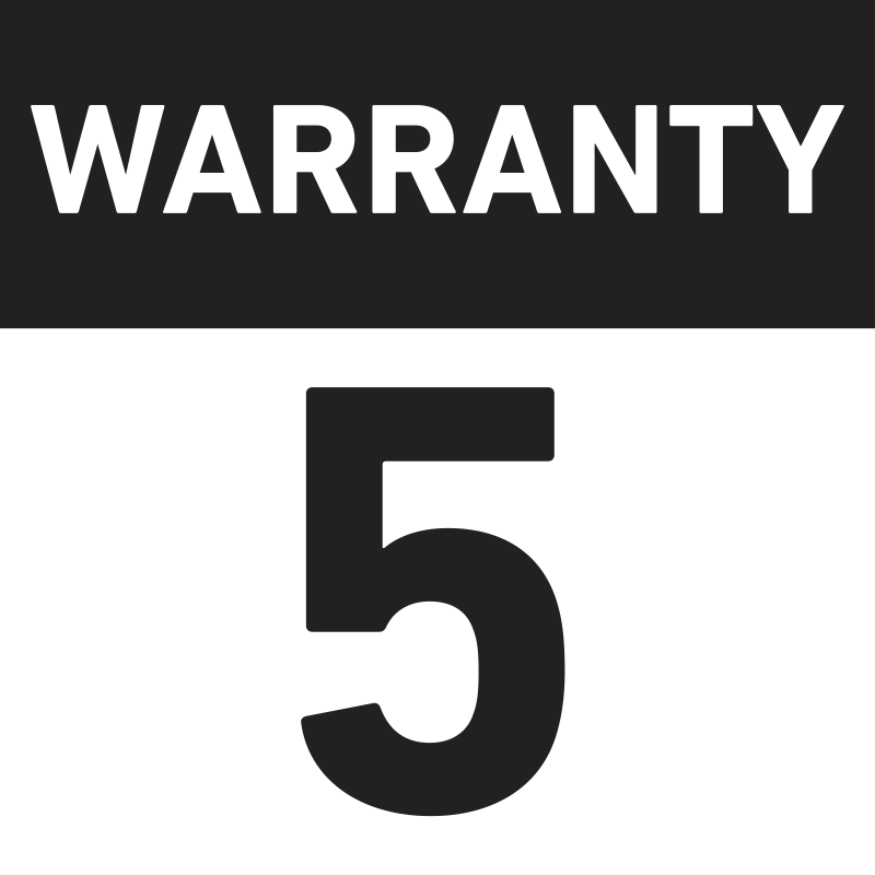 Light fitting with 5-year warranty. It does not cover light fittings fitted with emergency module (2 years) and batteries (6 months).